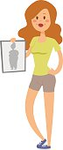 Healthy lifestyle cartoon portrait of smiling young fitness girl in