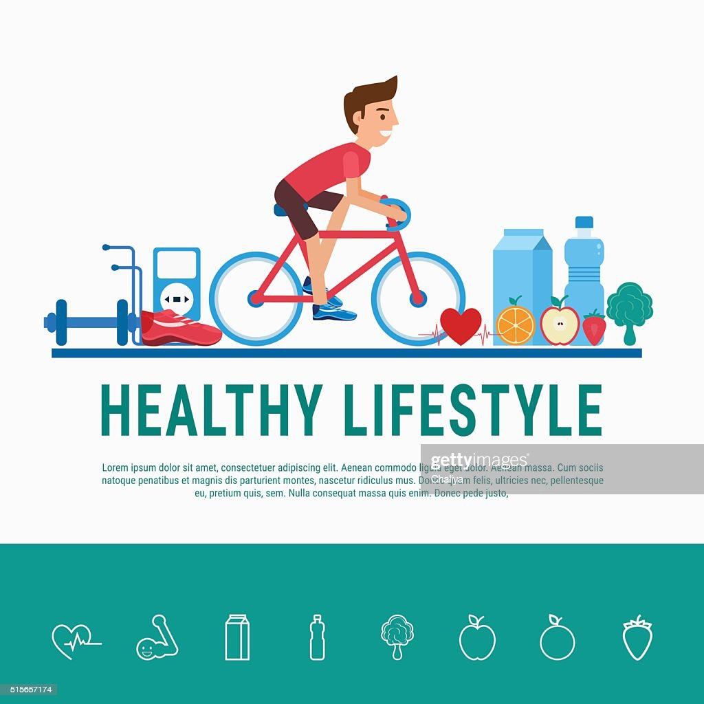 Healthy lifestyle concept. Proper nutrition, healthy food and sports equipment.