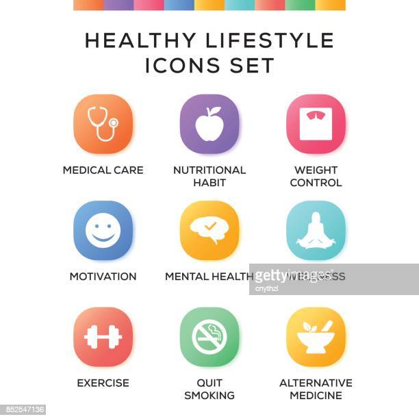 Healthy Lifestyle Icons Set on Gradient Background