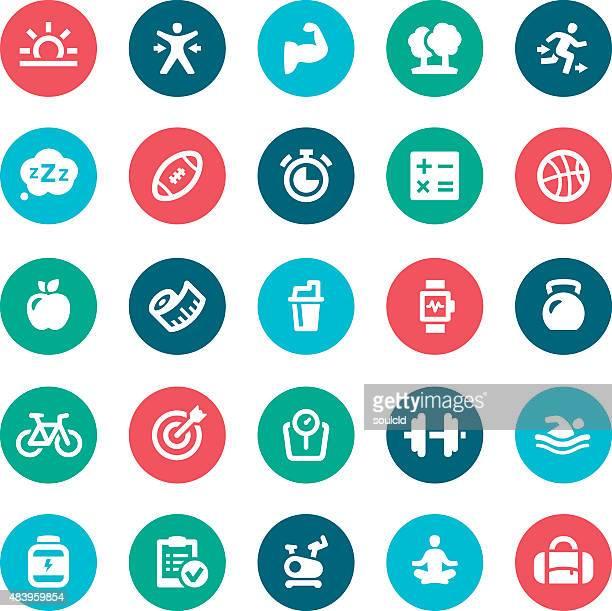 ilustraciones, imágenes clip art, dibujos animados e iconos de stock de iconos de estilo de vida saludable - aparatos para hacer ejercicio