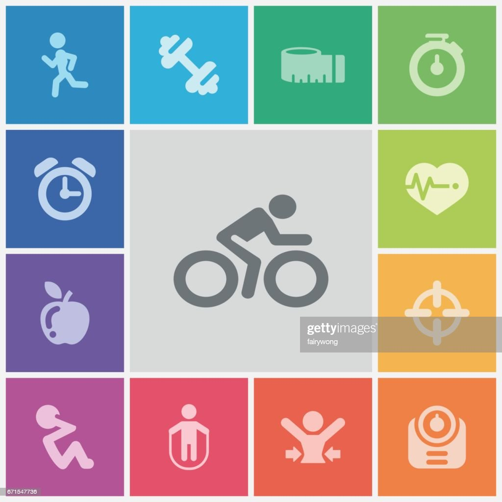 healthy lifestyle icons : stock illustration