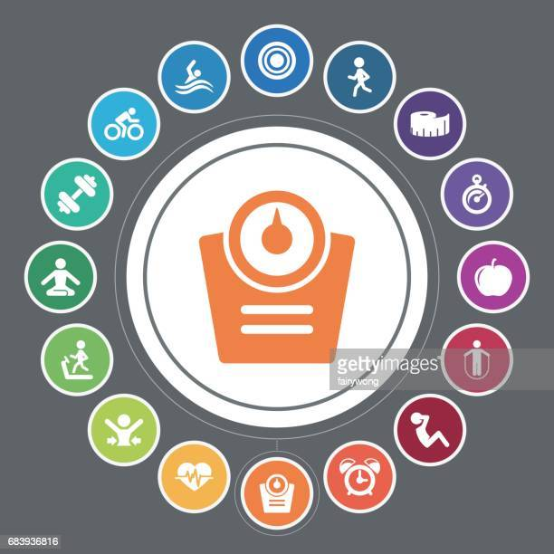 healthy lifestyle icons - tape measure stock illustrations, clip art, cartoons, & icons