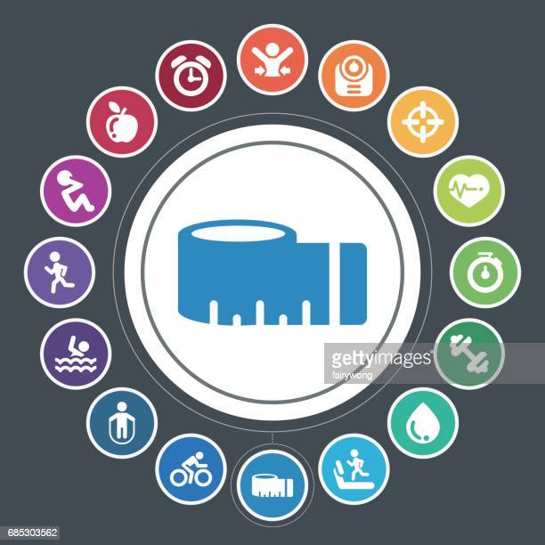 healthy lifestyle icons - fitness tracker stock illustrations, clip art, cartoons, & icons