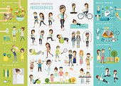 Healthy lifestyle infographic set with charts and other elements.