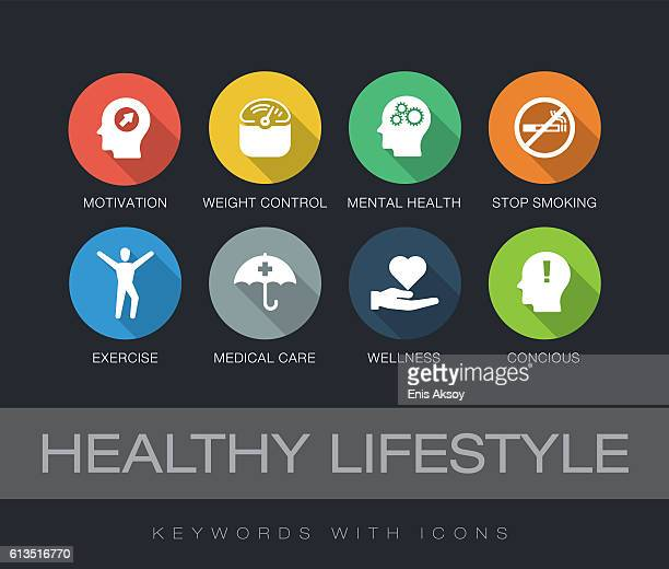 healthy lifestyle keywords with icons - mental health stock illustrations, clip art, cartoons, & icons