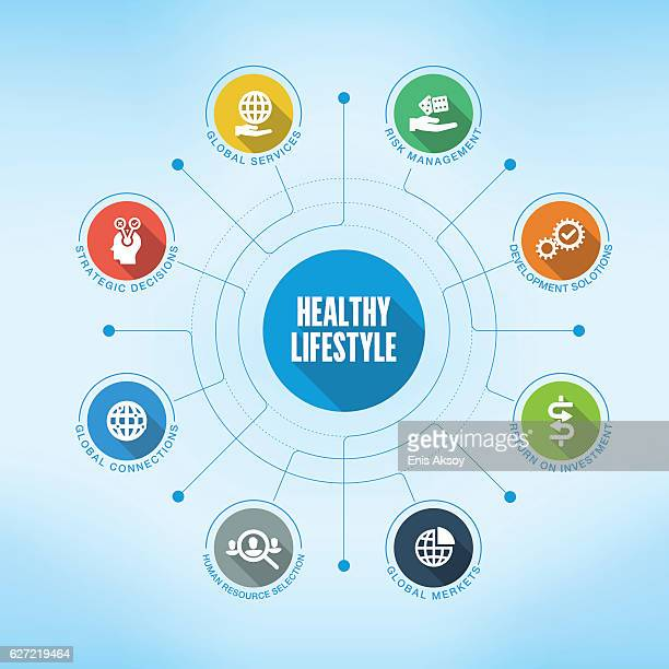 healthy lifestyle keywords with icons - quitting smoking stock illustrations, clip art, cartoons, & icons