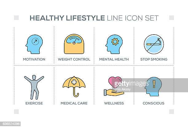 Healthy Lifestyle keywords with line icons