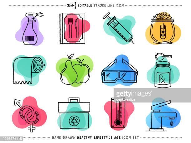 healthy lifestyle line vector icons set - hand sanitizer stock illustrations
