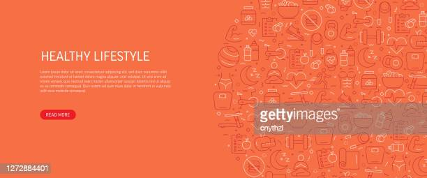 healthy lifestyle related banner design with pattern. modern line style icons vector illustration - healthy lifestyle stock illustrations