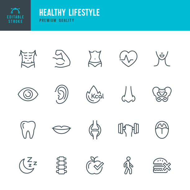healthy lifestyle - set of line vector icons - lips stock illustrations