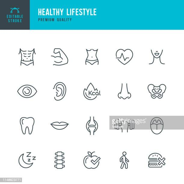 healthy lifestyle - set of line vector icons - ear stock illustrations