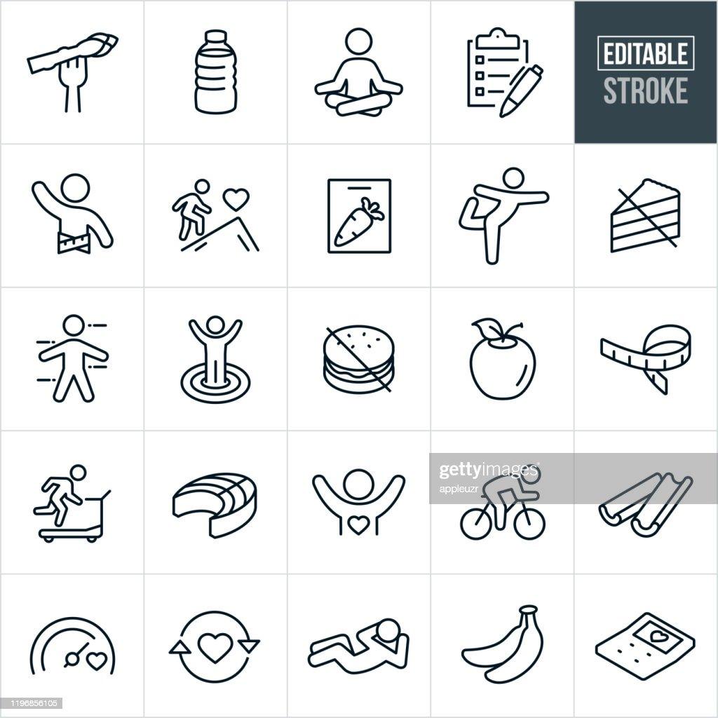 Healthy Lifestyle Thin Line Icons - Editable Stroke : Stock Illustration
