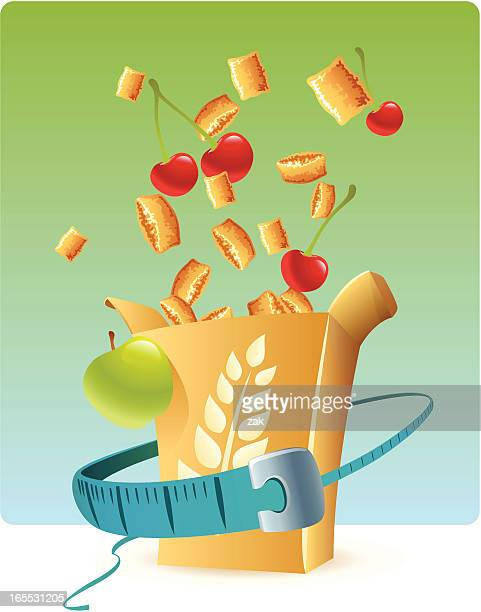 healthy lifestyle - bran flakes stock illustrations, clip art, cartoons, & icons