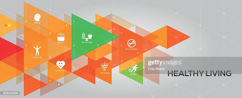 Healthy Living banner and icons : stock illustration