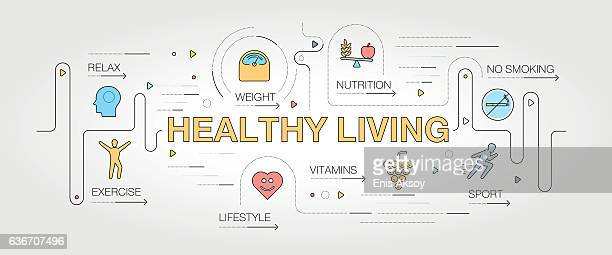 healthy living banner and icons - dieting stock illustrations, clip art, cartoons, & icons