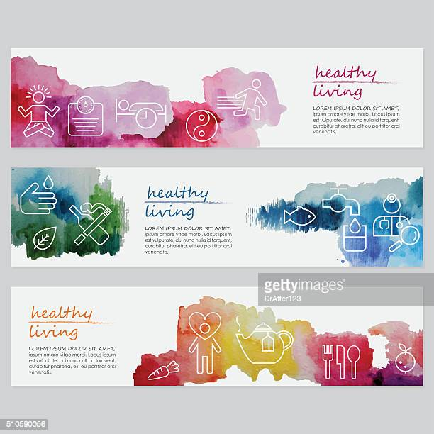 healthy living banners including line icons set - wellness stock illustrations, clip art, cartoons, & icons