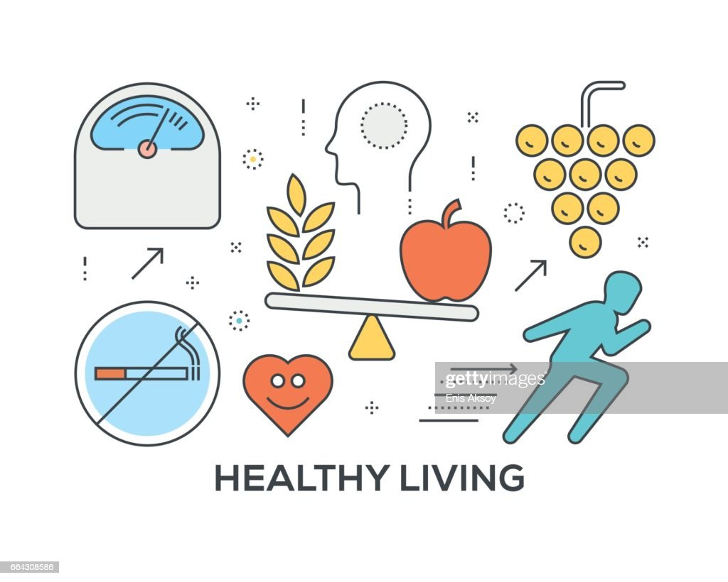 Healthy Living Concept with icons : stock illustration