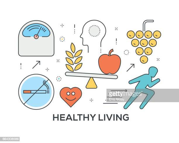 healthy living concept with icons - body conscious stock illustrations, clip art, cartoons, & icons