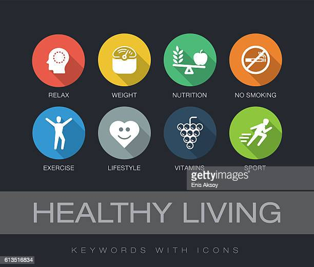 healthy living keywords with icons - dieting stock illustrations, clip art, cartoons, & icons