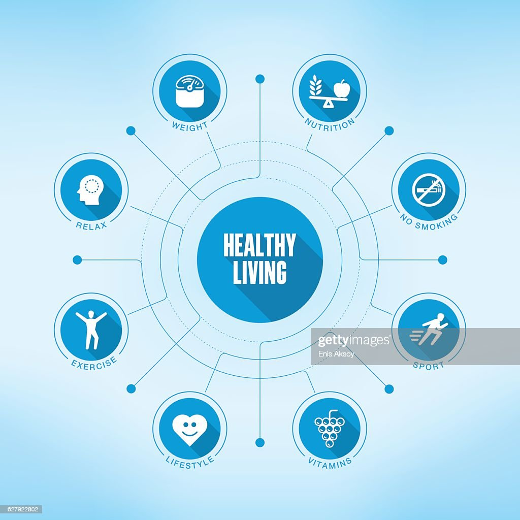Healthy Living keywords with icons : stock illustration