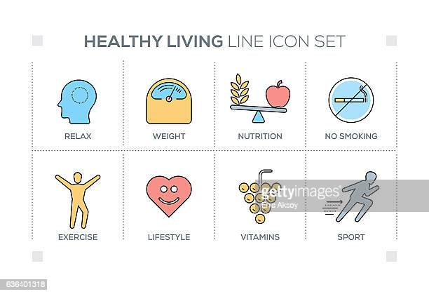 healthy living keywords with line icons - body conscious stock illustrations, clip art, cartoons, & icons