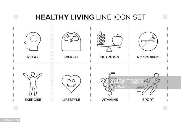 healthy living keywords with monochrome line icons - quitting smoking stock illustrations, clip art, cartoons, & icons