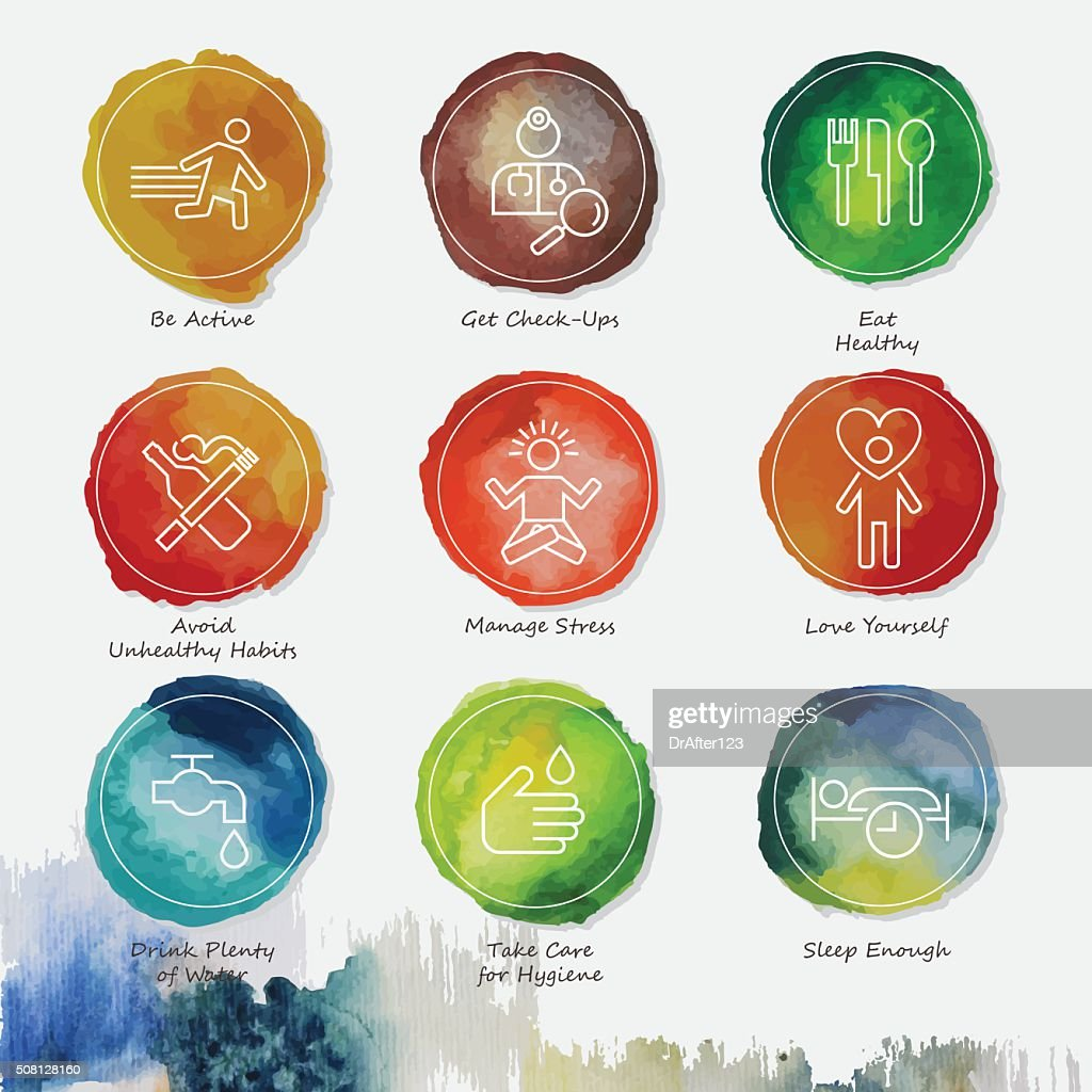 Healthy Living Watercolor Icons Set : stock illustration