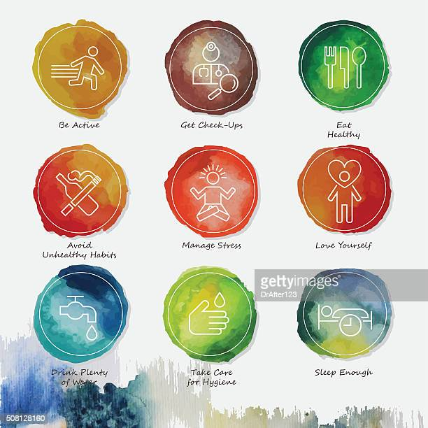 Healthy Living Watercolor Icons Set