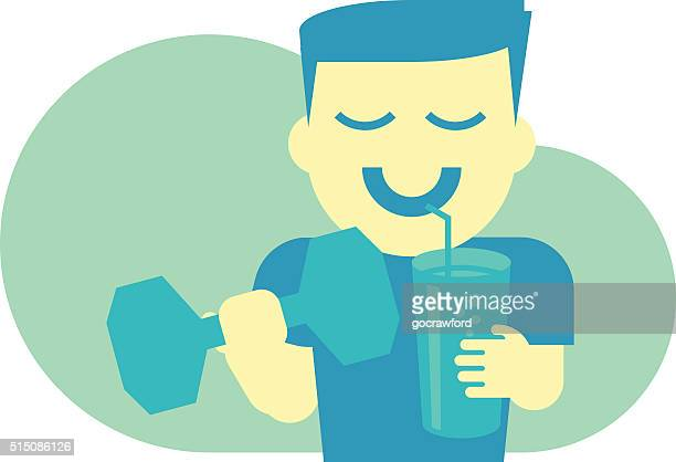 Healthy Man with Barbell and Smoothie Shake Flat Design