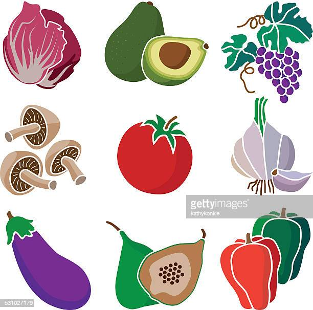 healthy mediterranean diet fruits and vegetables - endive stock illustrations, clip art, cartoons, & icons