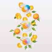 Healthy orange juice and fruit slices