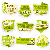 Healthy organic farm fresh product vector stickers. Green vegan food badges and labels