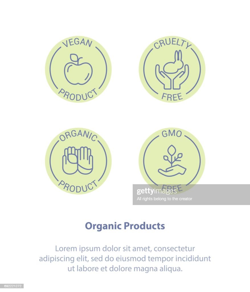 Healthy Organic Products Logo. Vegan, Cruelty Free, GMO, Organic.