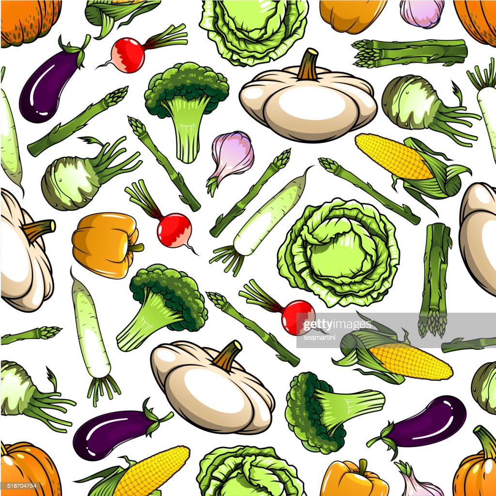 Healthy organic vegetables seamless pattern