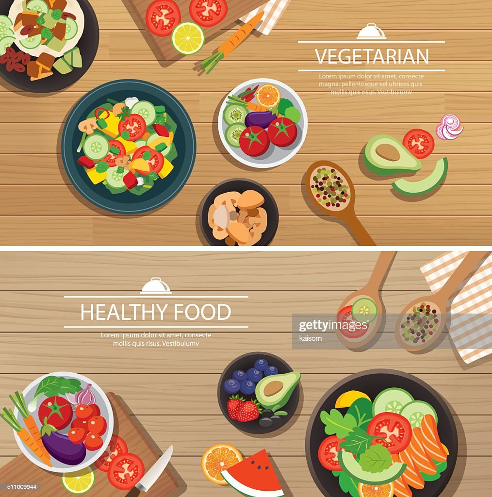 healthy organic vegetarian on a wooden background top view flat