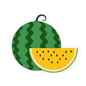 Healthy organic yellow water melon, colorful tropical nature fresh fruit objects.