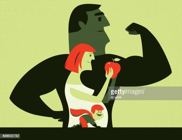 healthy parents and superhero baby - apple fruit stock illustrations, clip art, cartoons, & icons