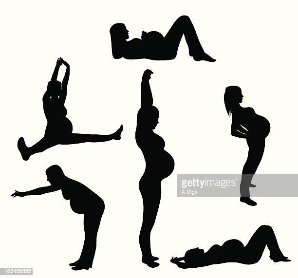 Healthy Pregnant Vector Silhouette