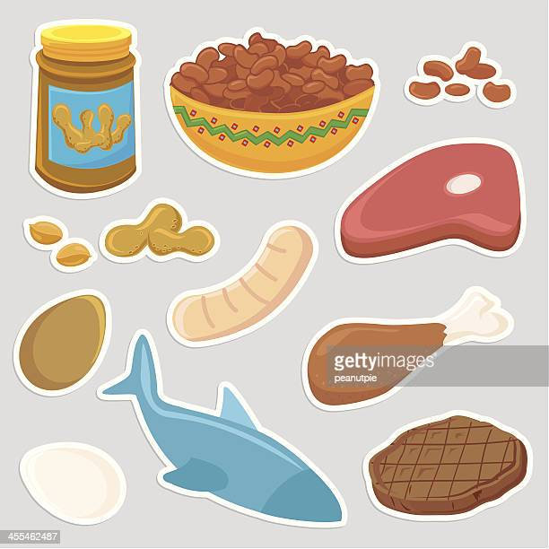healthy protein meat food icons - bean stock illustrations