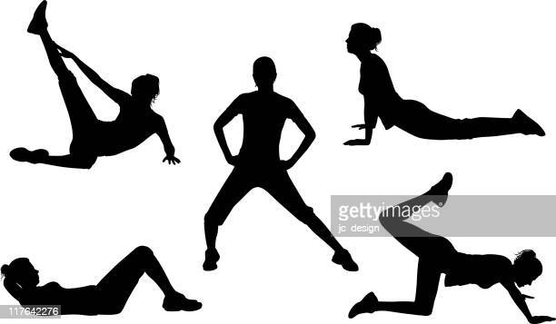 healthy silhouette series - stretching stock illustrations