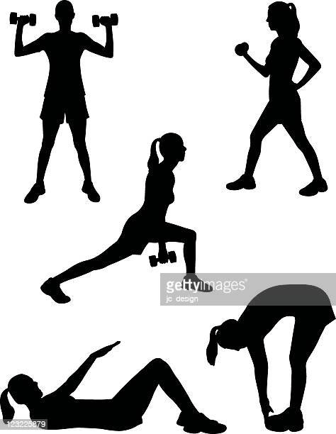 healthy silhouette series - weight training stock illustrations