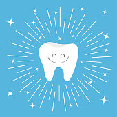 Healthy tooth icon with smiling face. Round line circle. Oral dental hygiene. Children teeth care. Shining effect stars. Cute cartoon character. Blue background. Flat design.
