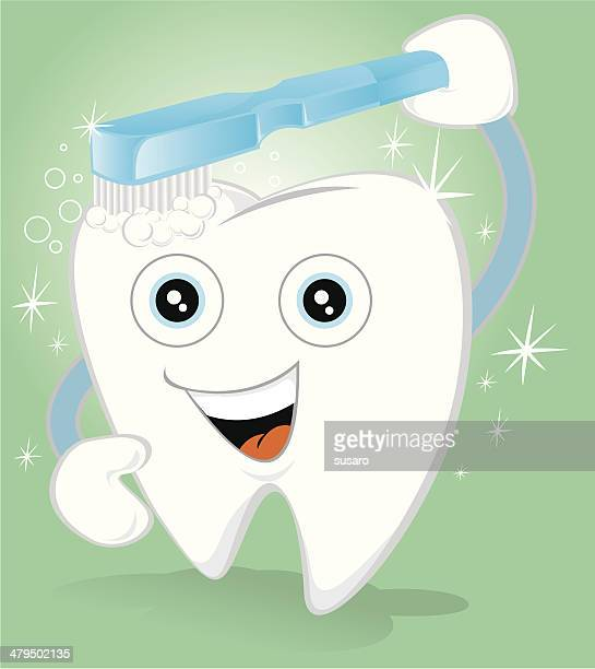 healthy tooth - brushing teeth stock illustrations