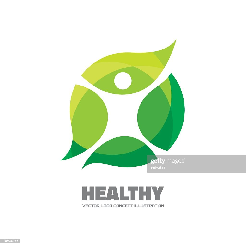 Healthy - vector logo sign concept illustration.