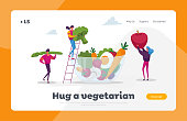 Healthy Vegan Food Choice Landing Page Template. Young People Characters Put Huge Vegetables, Berries and Fruits into Glass Bowl. Vitamins in Products, Organic Greenery. Cartoon Vector Illustration