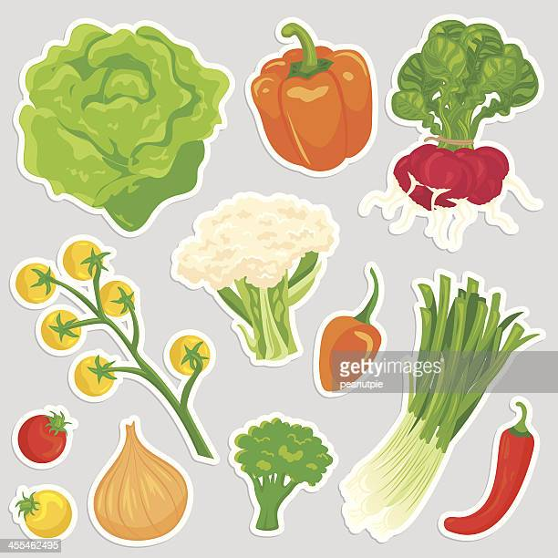 healthy vegetable food icons - cauliflower stock illustrations, clip art, cartoons, & icons
