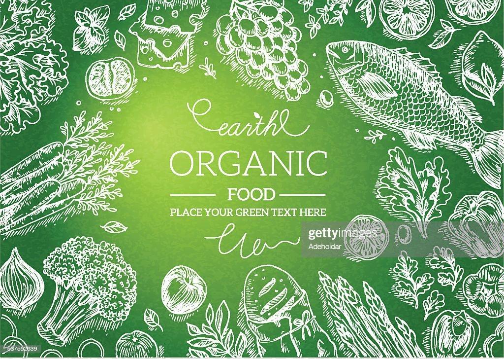 Healthy Vegetables Frame. Linear graphic. Vector illustration