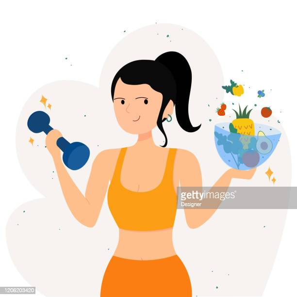healthy woman with vegetables and dumbbells promoting a healthy lifestyle - dieting stock illustrations