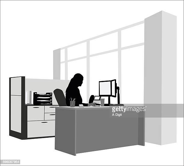 healthy work environment - office cubicle stock illustrations, clip art, cartoons, & icons