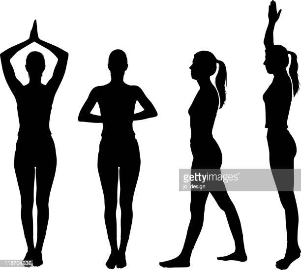 healthy yoga silhouette - mid adult women stock illustrations